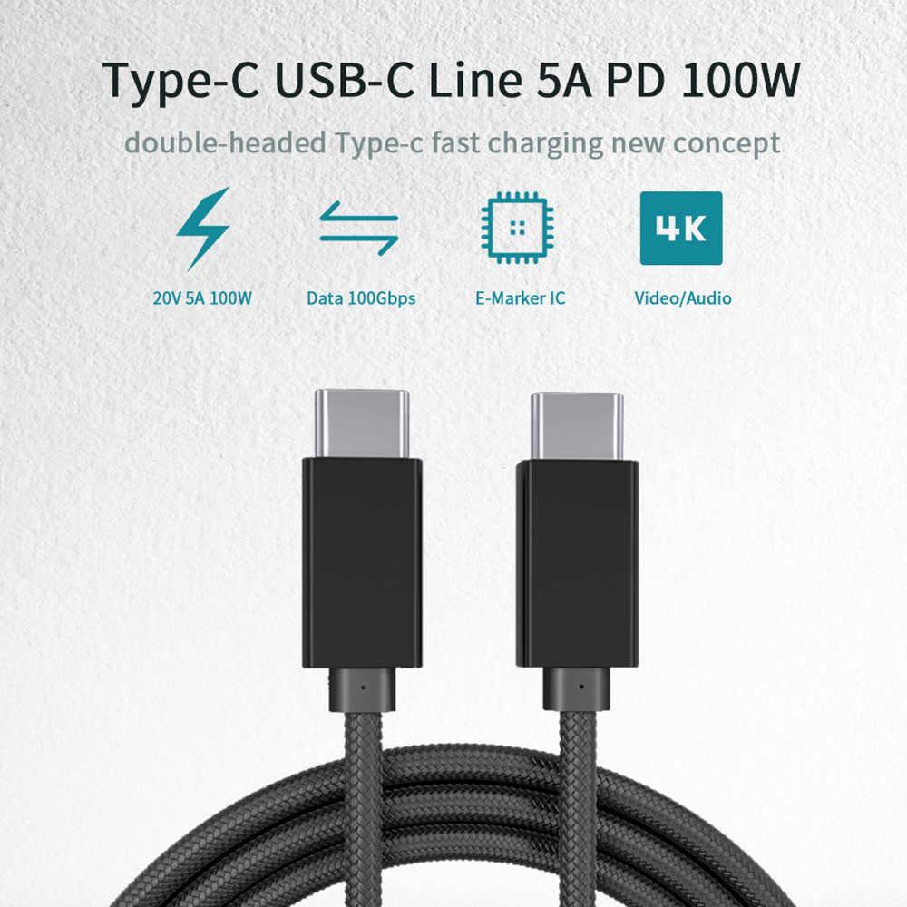 USB نوع C كابل 3.1 5A 100 واط PD تهمة سريعة ل ماك بوك برو سامسونج S9 S8 نوت 9 8 هواوي ماتي 20 سريع كابل الشاحن نوع c