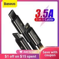 Baseus 3で1 usb cケーブルiphone 12 × 11プロマックス急速充電器xiaomi赤マイル注9サムスンS20マイクロタイプc usbケーブル