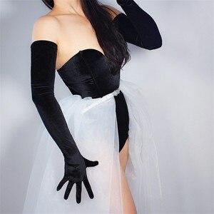 Image 2 - Luvas de veludo femininas, luvas de veludo com 70cm extra longo, luva preta para ópera feminina, cisne, veludo, dourado, touchscreen, wsr26