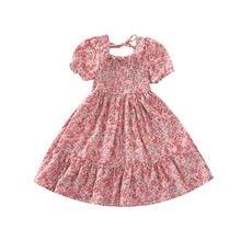 Летнее платье для девочек с принтом короткими рукавами и Цветочный