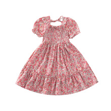 Summer Girls Dresses Girls Short Sleeve Floral Print Dress Kids Elegant Princess Dress Children Party Ball Pageant Dress Outfit autumn winter girls princess mini dress kids baby girls party wedding pageant long sleeve sweater dresses cute ball kids costume