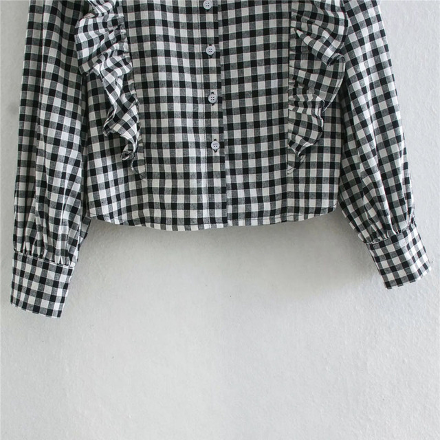 Qeils Women Fashion Ruffled Plaid Blouses Casual Vintage Long Sleeve Turn-Down Collar Button-Up Female Shirts Blusas Chic Tops 6