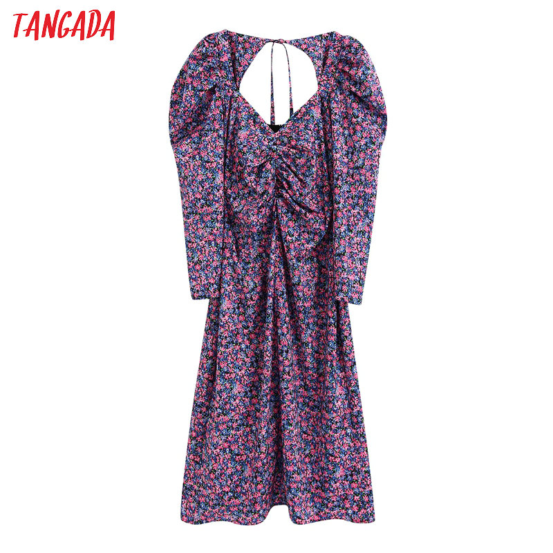 Tangada Fashion Women Flowers Print Purple Dress V Neck Backless Long Sleeve Ladies Slim Midi Dress Vestidos BE162
