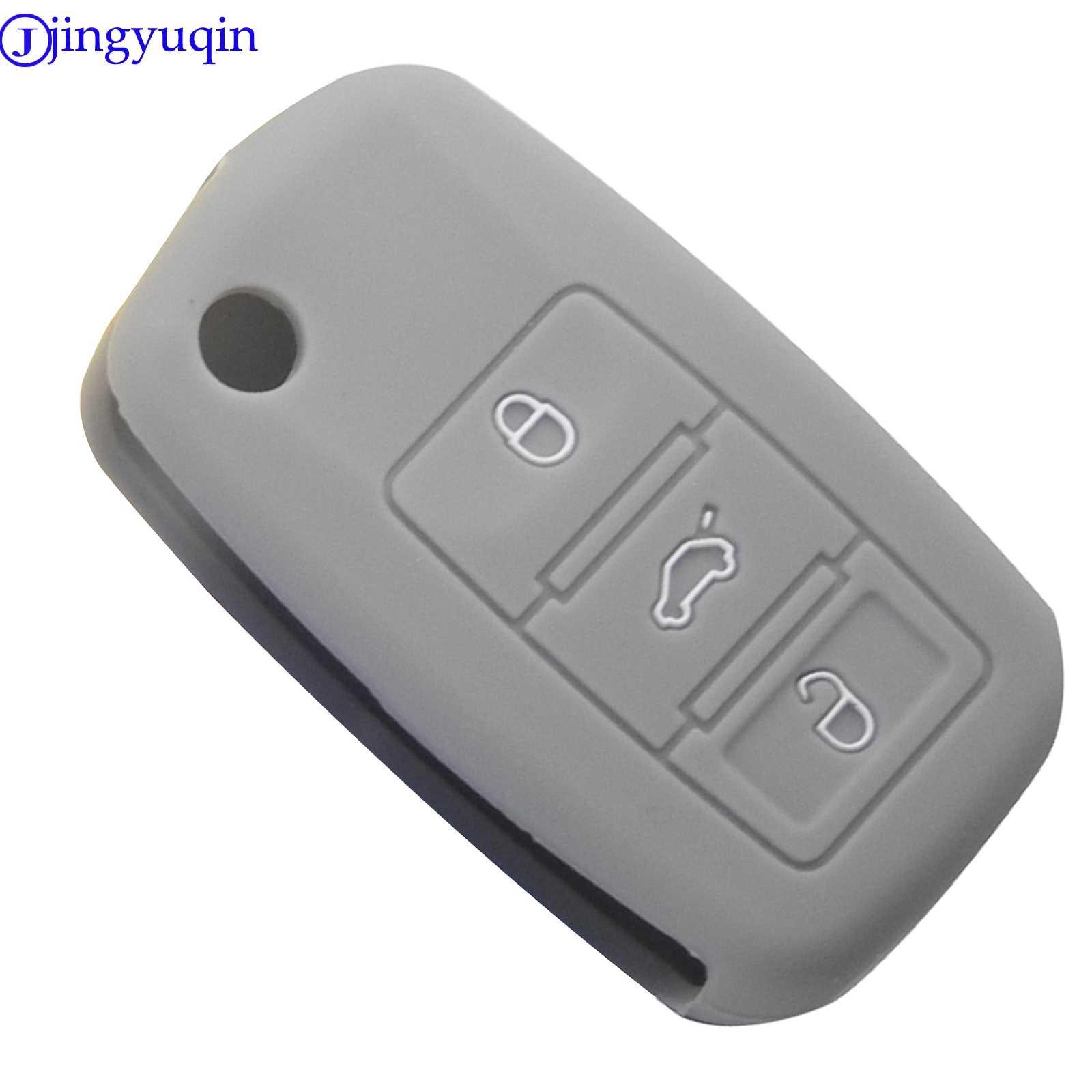 Jingyuqin 3B funda de silicona para llave del coche caso para VW Golf Bora Jetta POLO Passat Skoda Superb Octavia Fabia asiento Ibiza Leon protegido