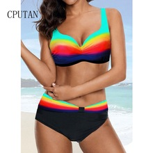 New Bikini 2019 Push Up Tankini Women Sexy Two Piece Swimsuit Plus Size Swimwear Vintage Neon Bikinis Biquini Bathing Suit S-XXL split swimsuit bikinis women 2018 swimwear female bikini plus size push up bathing clothes new sexy underwire tower three piece