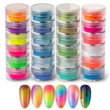 6 sztuk zestaw proszek pigmentowy fluorescencyjny paznokci brokat zestaw Shinny Ombre Chrome pył DIY żel polski Manicure na paznokcie sztuka dekoracji tanie i dobre opinie CN (pochodzenie) 6pcs Powder YZ0246