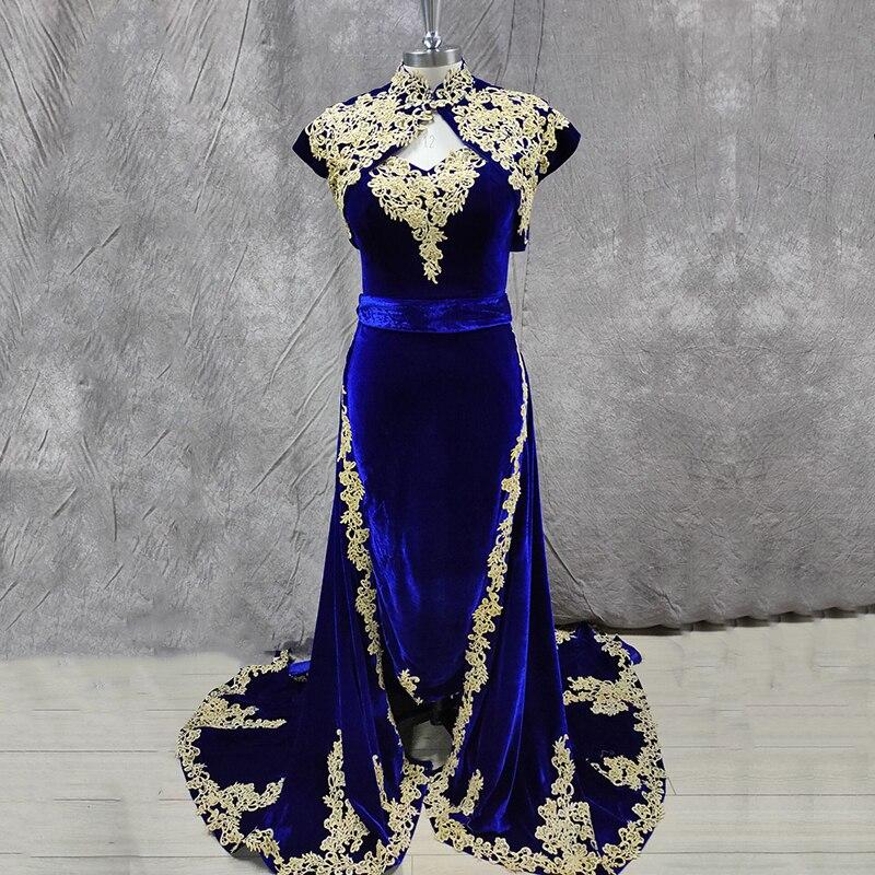 Сказочное арабское марокканское искусственное бархатное платье Caftan 3 шт. Золотая аппликация Королевский синий кафтан платье для выпускного вечера|Вечерние платья| | АлиЭкспресс