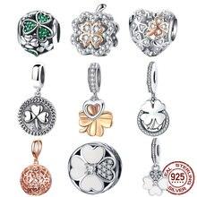 925 пробы серебро лучшие друзья навсегда дружба сердце клевер Подвески Fit BISAER женские браслеты серебро 925 ювелирное изделие