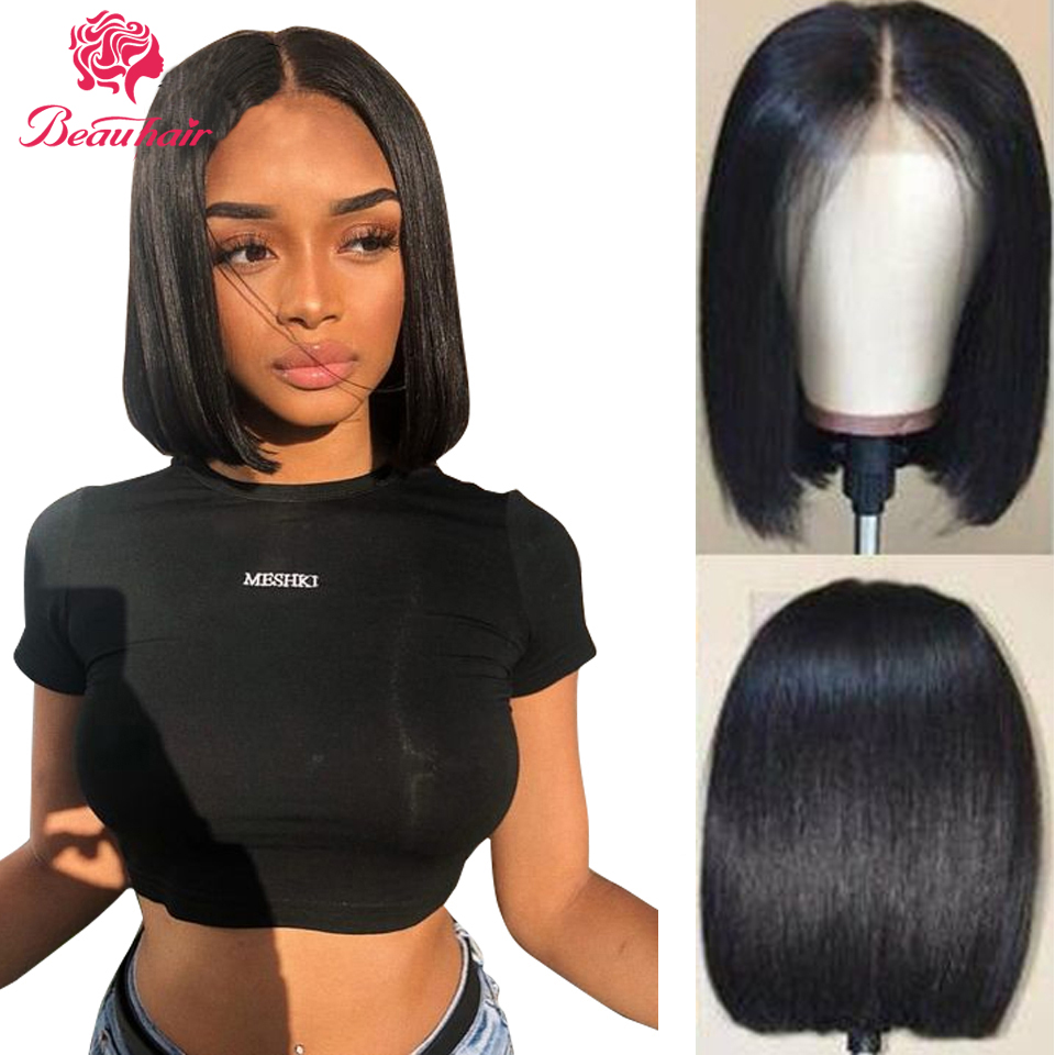 Brazilian Human Hair Wigs Straight Bob Wig  4x4 13x5 Wig Lace Closure Wig Pre-Plucked With Baby Hair In Front Can Be Dyed Permed