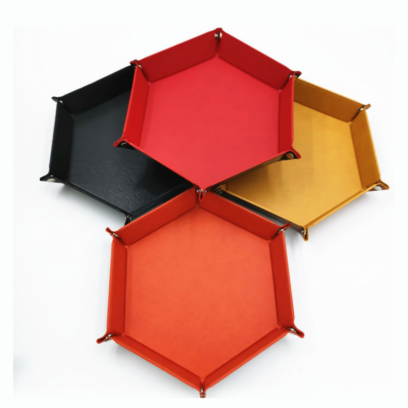 7 Kinds Colors PU Leather Folding Hexagon Dice Tray Portable Dice Box For Board Games Dice Storage