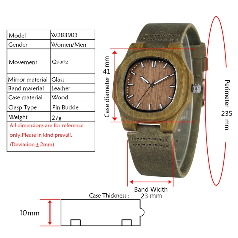 Image 2 - 2020 New arrivals Wood Watch Natural Light Wooden Face Fashion Genuine Leather Bangle Unisex Gifts for Men Women Reloj de maderagifts for mengift giftsgifts for women -