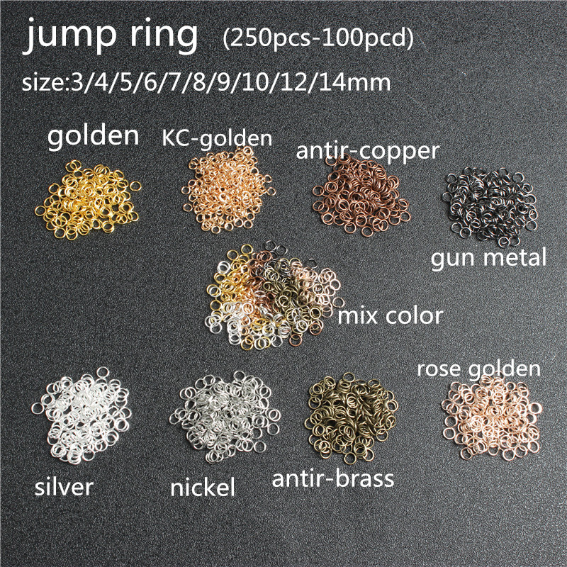 250pcs Jump Ring 4mm5mm6mm7mm8mm10mm Opening Ring Fashion Accessories Accessories Link Ring Closure Ring Gold Nickel Rose Gold