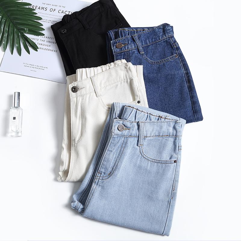4 color mom jeans woman elastic waist high wais plus size denim Pants boyfriend jeans for women Washed Cotton 2020 fashion new