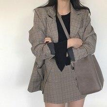 Осенний винтажный Блейзер, пальто, мини-юбка, клетчатый Блейзер, наряды, Модный женский костюм из 2 предметов, офисный комплект из двух предметов