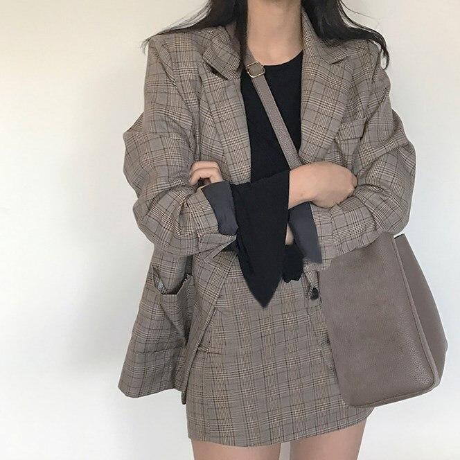 2019 Autumn Vintage Blazer Coat Mini Skirt Plaid Blazer Outfits Fashion Women 2 Pieces Suit Office Two Piece Set