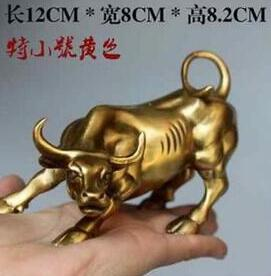 Copper Brass CHINESE Crafts Decoration Wall Street Bronze Fierce Bull OX Statue 12cm