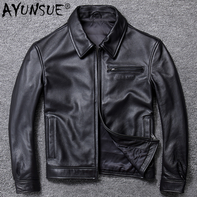AYUNSUE Mens Leather Jacket Real Cowhide Sheepskin Coat Genuine Leather Jackets for Men Motorcycle Jacket 2020 19-A005 KJ4272