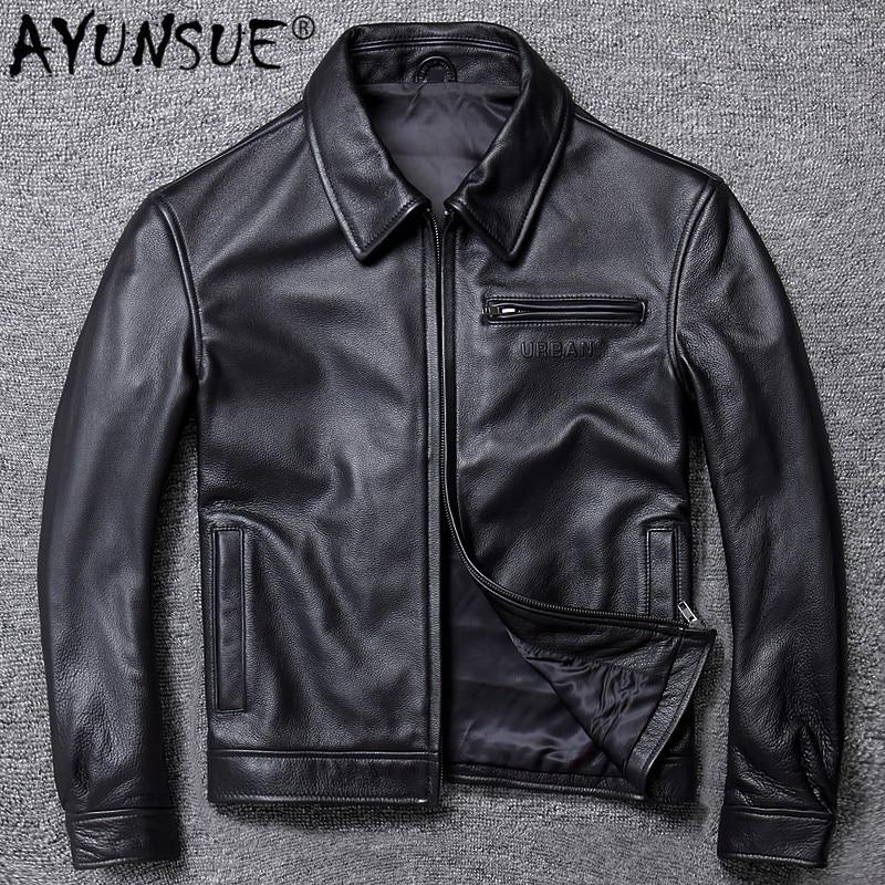 AYUNSUE Mens Leather Jacket Real Cowhide Sheepskin Coat Genuine Leather Jackets For Men Motorcycle Jacket 2020 19-A005 KJ4272