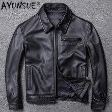 AYUNSUE Mens Leather Jacket Real Cowhide Sheepskin Coat Genuine Leather