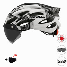 Bicycle Helmet Men Women MTB Road Cycling Helmet Bike with Removable Visor Goggles taillight Ultralight Integrally-molded