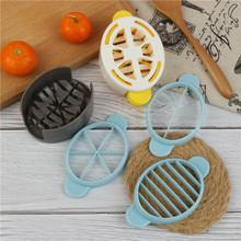 Blue Yellow Three In One Wheat Straw Egg Cutter Convenient Multifunctional Split Device Food Divider Slicer Egg Slicer Tool creative plastic bananas slicer cutter yellow