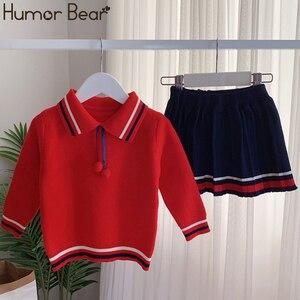 Image 5 - ユーモアクマ女の子の服のスーツ秋冬新カレッジスタイルの女の子セーター + スカートセット 2 6t 2019 子供の服