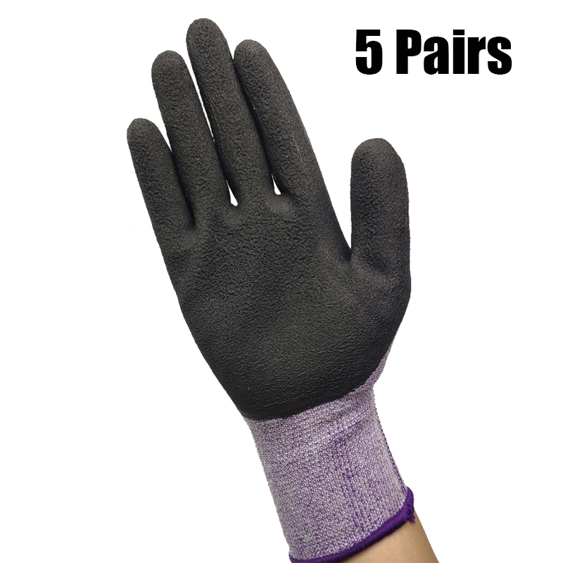 5 Pairs Safety Coating Work Gloves Palm Coated Gloves Mechanic Working Gloves