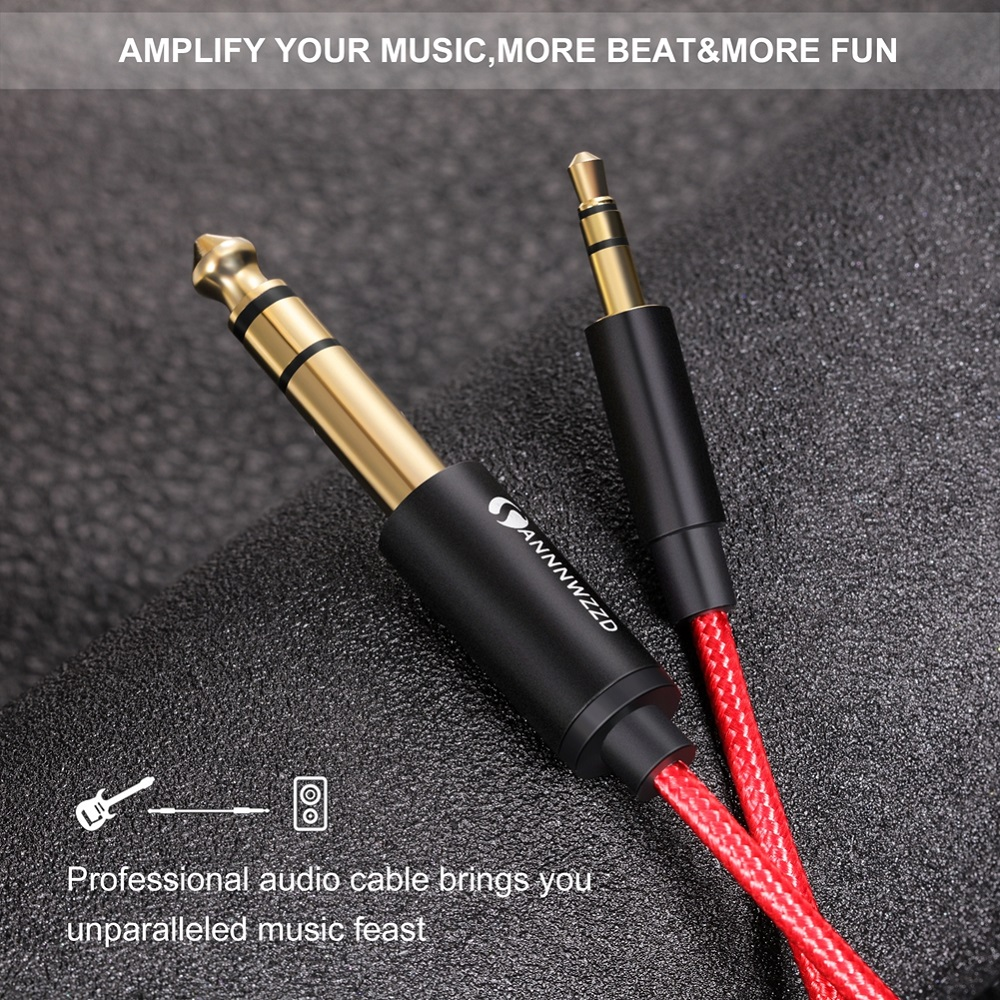Guitar Cable 3.5mm to 6.35mm Adapter Aux Cable For Cellphone Computer Amplifier Speakers 3.5 Jack To 6.5 Jack Male Audio Cable
