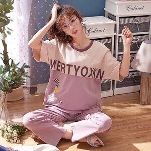 Image 4 - Women Pajamas Spring Summer Pyjamas Set Short Sleeve Sleepwear Pijama Pajama Suit Female Homewear Night Suit