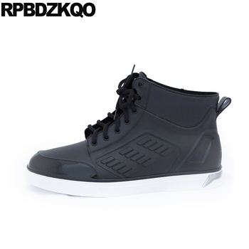 lace up warm waterproof faux fur mens rubber rain boots black booties high top sneakers trainer flat winter short shoes cheap