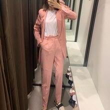 купить New Blazer Women Autumn New Suit Female Suit Collar Collar Straight Casual Plaid Pants Long Sleeve Women Clothes Blazer Mujer по цене 1143.7 рублей