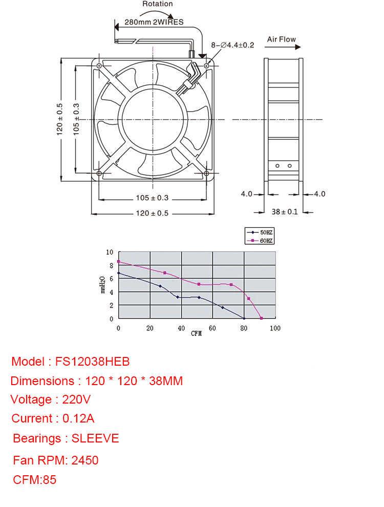 مروحة تبريد 12038 EC 220 فولت محورين المشجعين 120*120*38 مللي متر DP200A CFM 85 RPM 2450 مولد الأوزون اكسسوارات لحام القصدير مروحة العادم