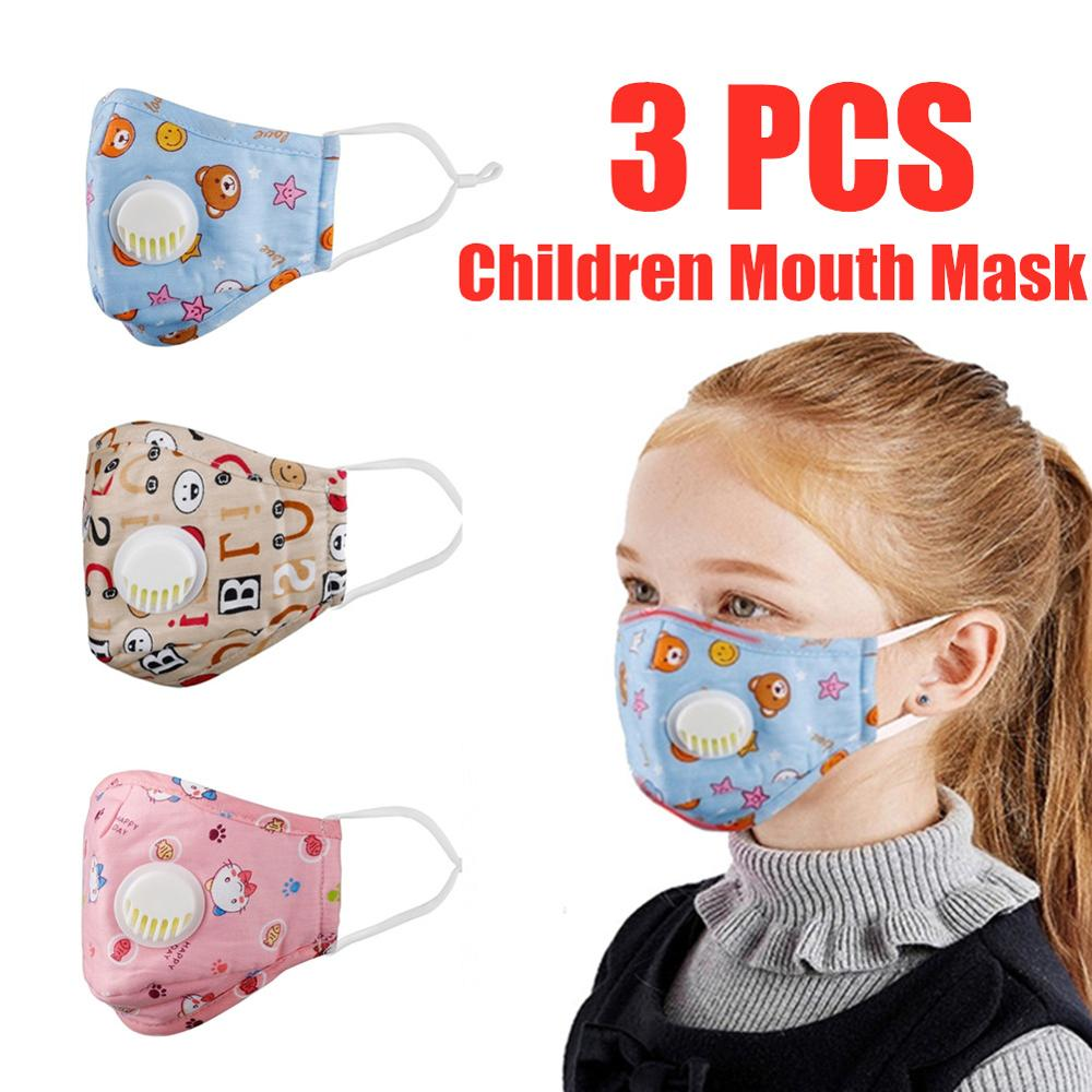 3PCS Mouth Mask Cartoon Children Mouth Mask Respiratory  Mask Warm Dust Mask Fits 2-10 Years Old Kid