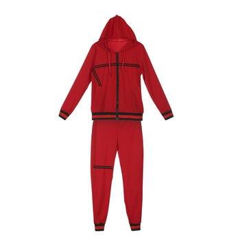 2020 Autumn Women's Sportswear 2pcs Women's Hooded Long Sleeve Zip Crop Tops Long Pants Trousers Loose Casual Clothes Set 3