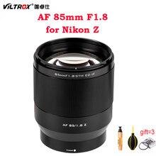Viltrox 85mm f1.8 stm lente da câmera para nikon z montagem z5 z50 z6 z6ii z7 ii quadro completo foco automático retrato lente principal olhos foco af
