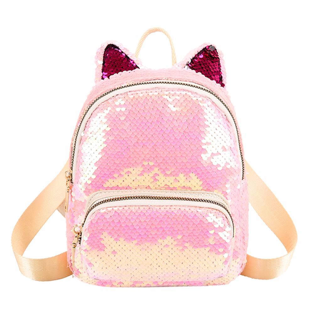 New Cute Mini Sequins Cat Backpacks Women School Bags Bling Rucksack Glitter Girls Travel Shoulder Bags Bolsas Mochila Mujer