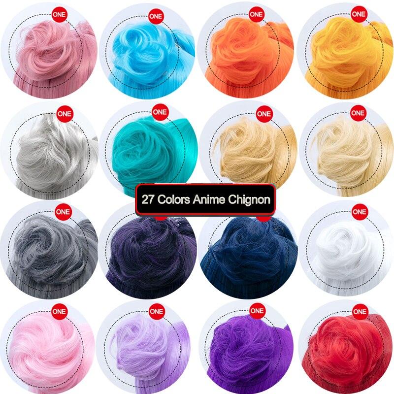 DIANQI 27 цветов Короткие вьющиеся шиньон Расширение Синтетический Косплей шиньон пончик ролик булочка парик коготь клип на шиньон для женщин