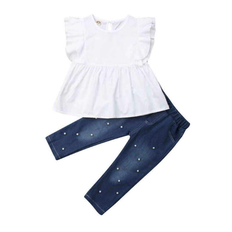 Baby Girls Summer Clothes Ruffle Flying Sleeve Solid Sling Shirt Top with Blue Dress Cotton Causal Skirt Outfits Set