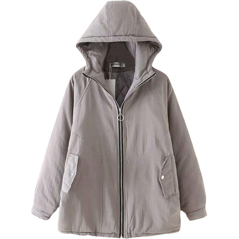 Grande taille décontracté Parkas 2019 hiver femmes vêtements mode ample à capuche chaud rembourré manteaux S6-8730