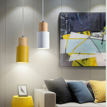 Nordic Simple Wood Pendant Lights Led Hang Lamp Colorful Aluminum Fixture Kitchen Island Bar Hotel Home Decor E27 Lighting(China)