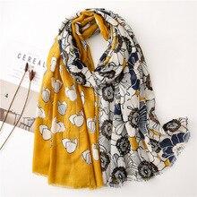 黄色のスカーフ女性の冬の韓国牧畜ロング花パッチワークヒジャーブスカーフ Pashminas Sjaal イスラム教徒スヌード