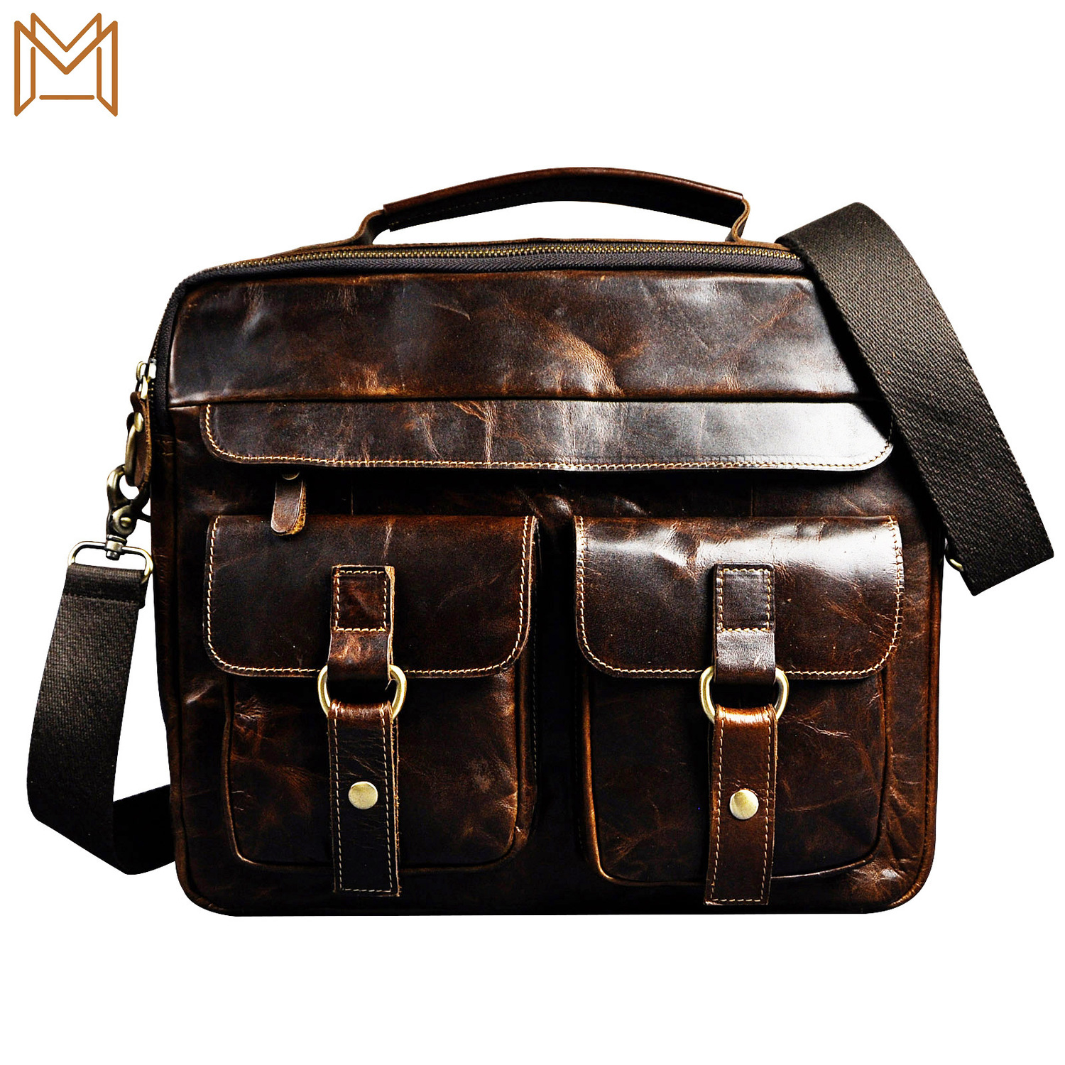 Wax Cowhide Genuine Leather Man Inch Business Affairs Portable Document Computer Package