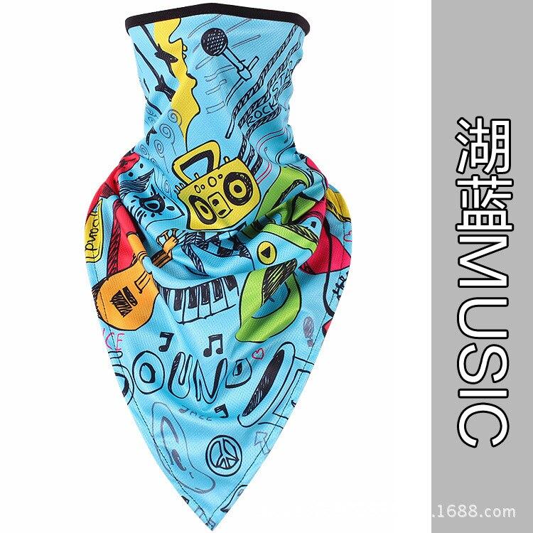 Новое ледяное шелковое треугольное полотенце крутой дышащий платок на голову воротник Мужская и женская маска от Солнца маска ошейник - Цвет: blue MUSIC