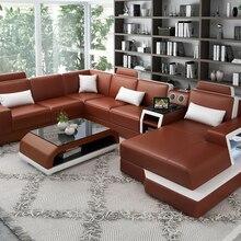 Современный дизайн Высший сорт Натуральная кожа красный набор диванов для гостиной
