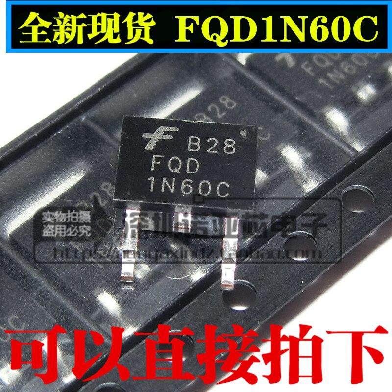 10pcs/lot New FQD1N60C 1N60 FET MOS 1A 600V Patch TO-252 N-Channel