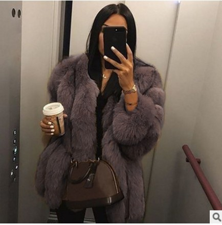 Elegant Fluffy Faux Fur Coat Women Short Furry Fake Fur Winter Outerwear Pink Grey Coat Autumn Casual Party Overcoat