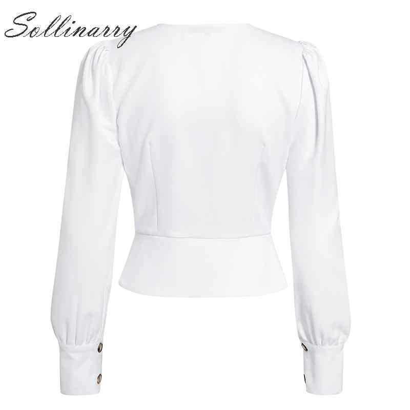 Sollinarry haute couture Peplum Blouses femmes 2019 col en V automne Sexy Blouse chemises dames bureau taille haute Blusa femme Vintage