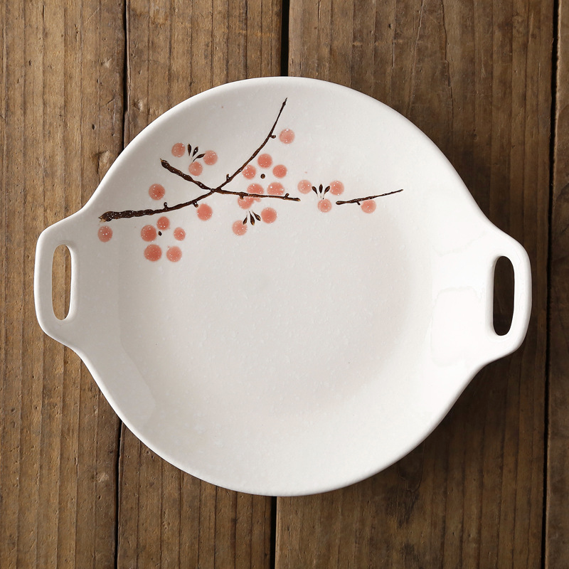 Посуда в японском стиле, керамический набор, домашняя тарелка с двойной ручкой, керамическое блюдце, креативное блюдо для закусок, салат, Обеденный Поднос