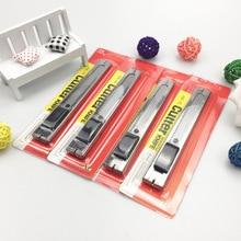 C136 Hand Push Medium Utility Knife Silver Paper Cutting Knife Learning Office Paper Cutting Knife Silver Metal Paper Cutter Sta