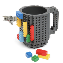 350ml Creative Coffee Mug Travel Cup Kids Adult Cutlery Lego Mug Drink Mixing Cup Dinnerware Set for Child(China)